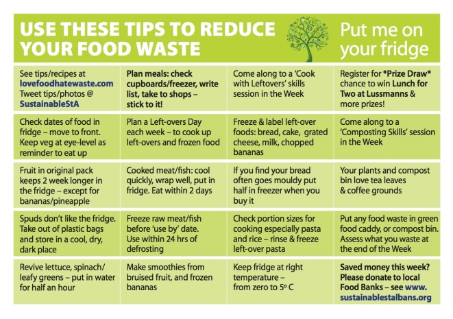 Tips on reducing food waste