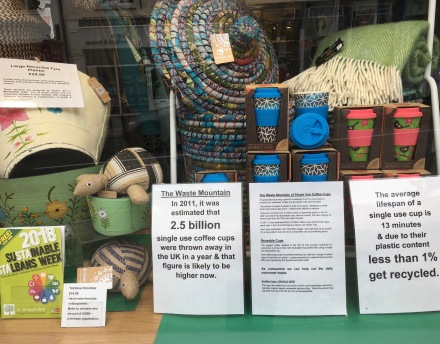Oxfam Coffee Cup display