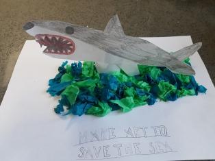 Callum age 8 and shark art
