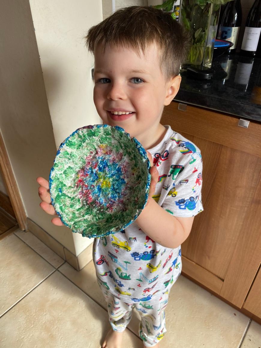 Lockdown competition - Josh age 5 with papier mache bowl