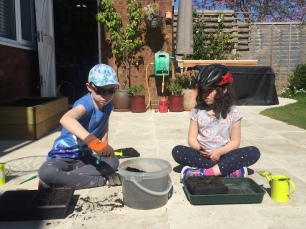 Lockdown competition - Lucy and Rebecca planting