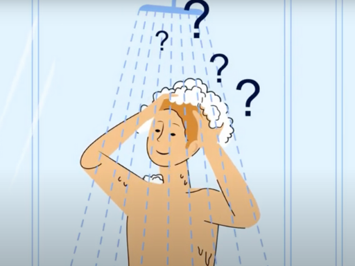 Illustration of person washing in shower